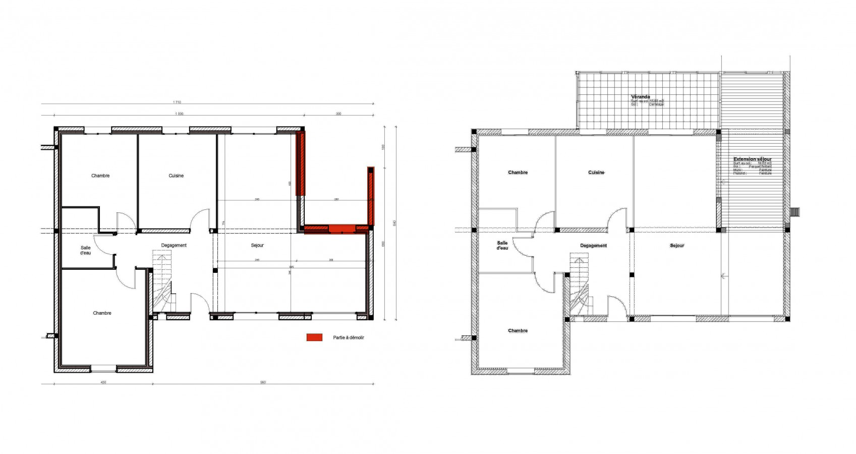 Plan architecte agrandissement maison maison moderne for Agrandissement maison plan