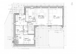 Plan maison contemporaine forme l for Plan maison minimaliste